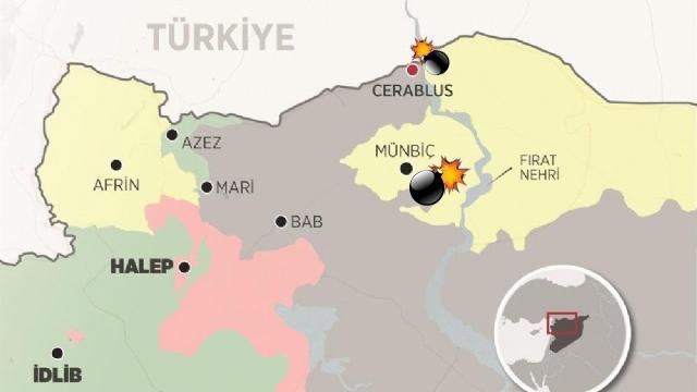 Türk Ordusu, Münbiç'te YPG'yi, Cerablus'ta IŞİD'i Vurdu
