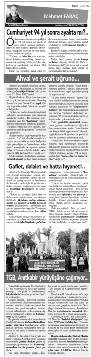 Aydınlık yazarı Mehmet Faraç