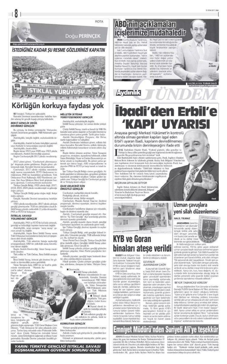 Vatan Partisi Genel Başkanı Doğu Perinçek'in Aydınlık'ta 31.10.2017 tarihinde yazdığı yazı
