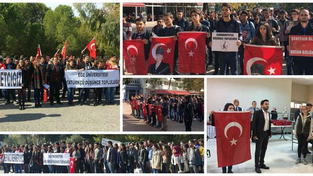 İzmir'in üniversiteleri şehitlerimiz için ayağa kalktı