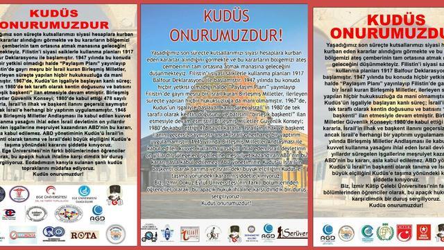İzmir'in üniversite topluluklarından ve örgütlerinden Kudüs için ortak bildiri