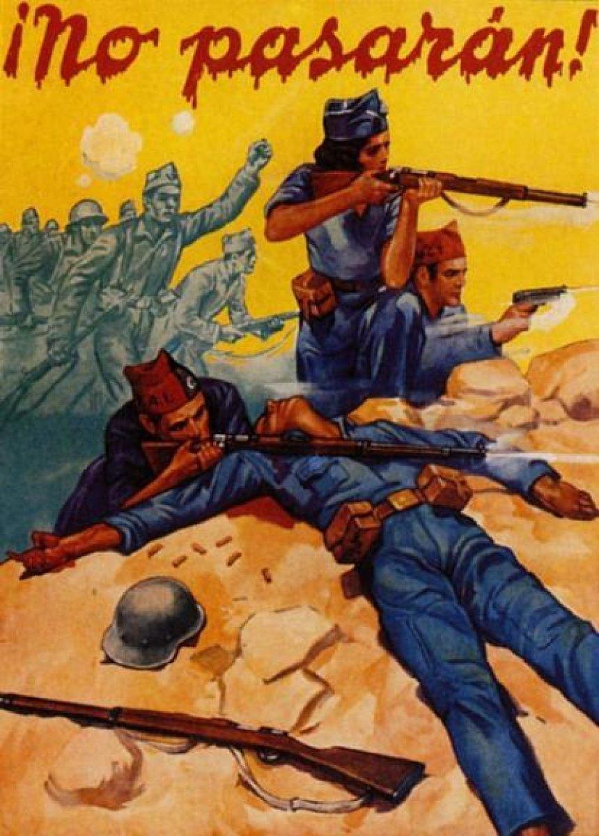 """İspanya İç Savaşı döneminden bir poster: """"No Passaran!"""" (Geçit yok!)"""