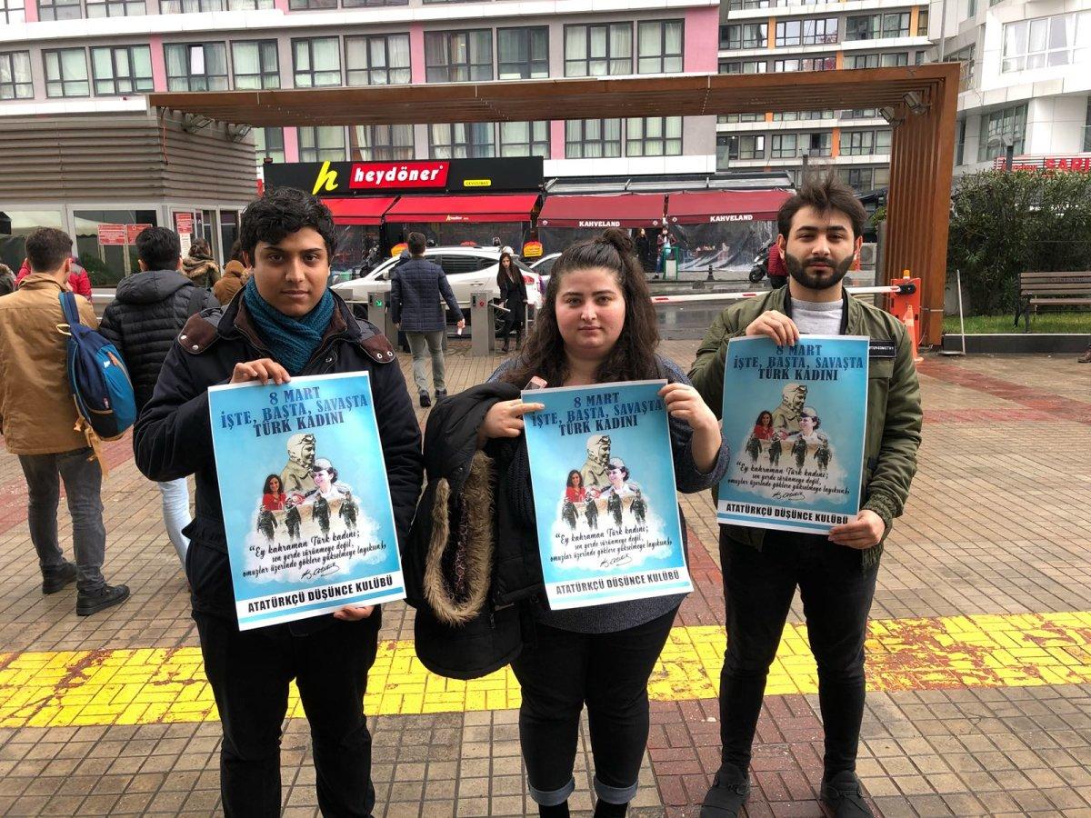 Yeni Yüzyıl Üniversitesi Atatürkçü Düşünce Kulübü, kampüsü 8 Mart Dünya Emekçi Kadınlar Günü afişleriyle donattı.