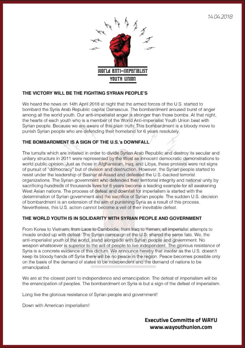 Dünya Anti-emperyalist Gençlik Birliği'nden yapılan açıklama