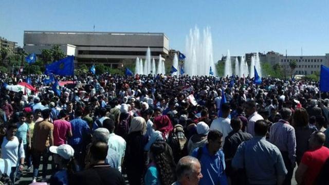 Şam'da emperyalizme karşı büyük miting