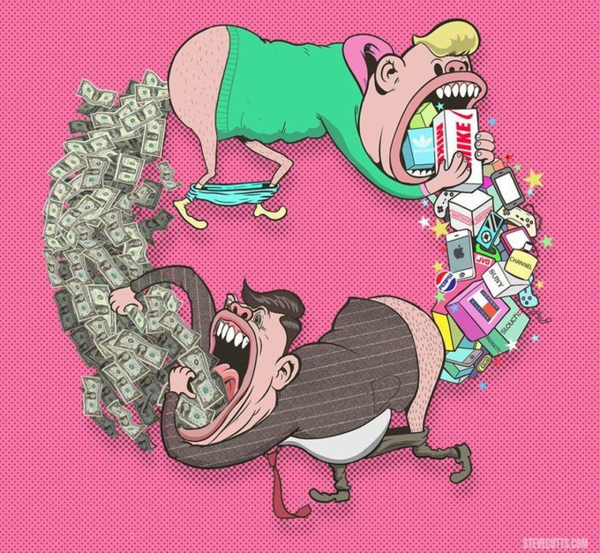 Steve Cutts'un Tüketim Çılgınlığı Tasviri