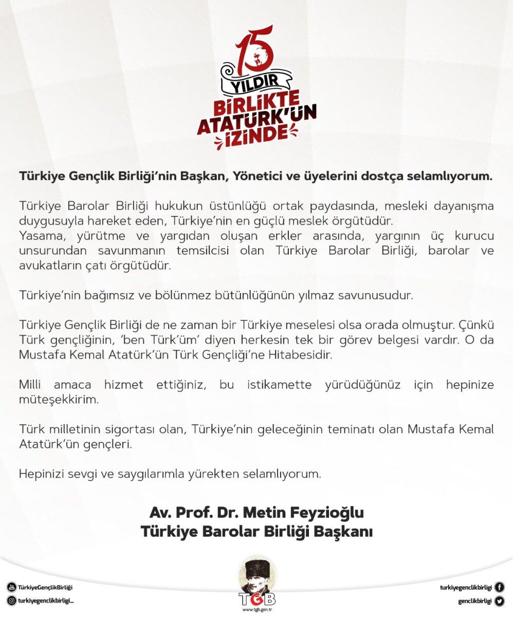 Metin Feyzioğlu'ndan TGB'ye Mesaj Var