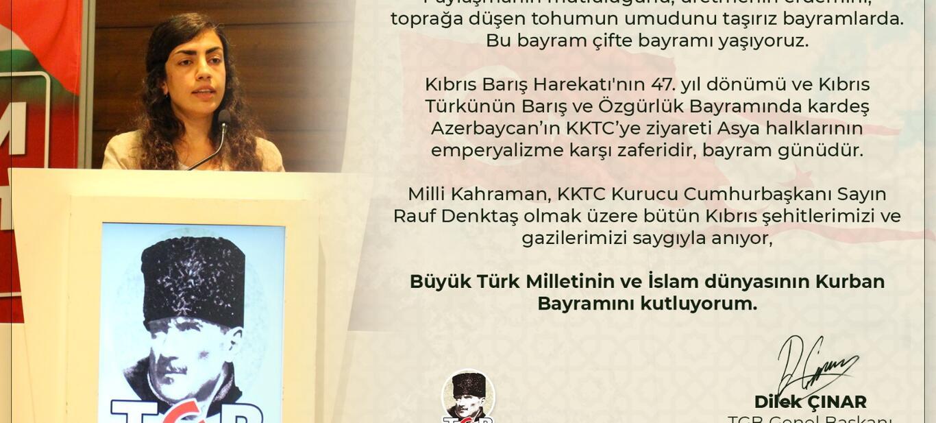 TGB Genel Başkanı Dilek Çınar'ın Bayram Mesajı